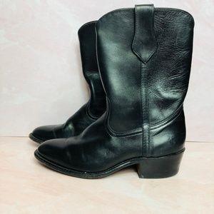 Frye Mid Calf Black Leather Boot M 7.5 W 9